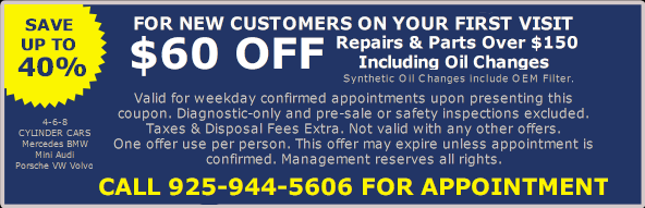 First time visit new customer offer - European Auto Repair Walnut Creek, CA